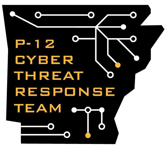 black logo in the shape of Arkansas with a circuitboard pattern that says P-12 Cyber Threat Response Team
