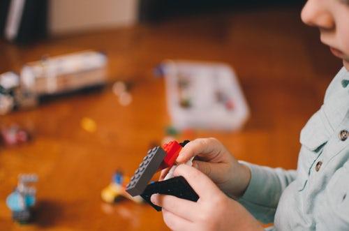child playing blocks