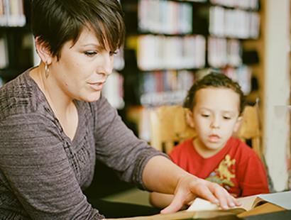 Speech Language pathologist working with child