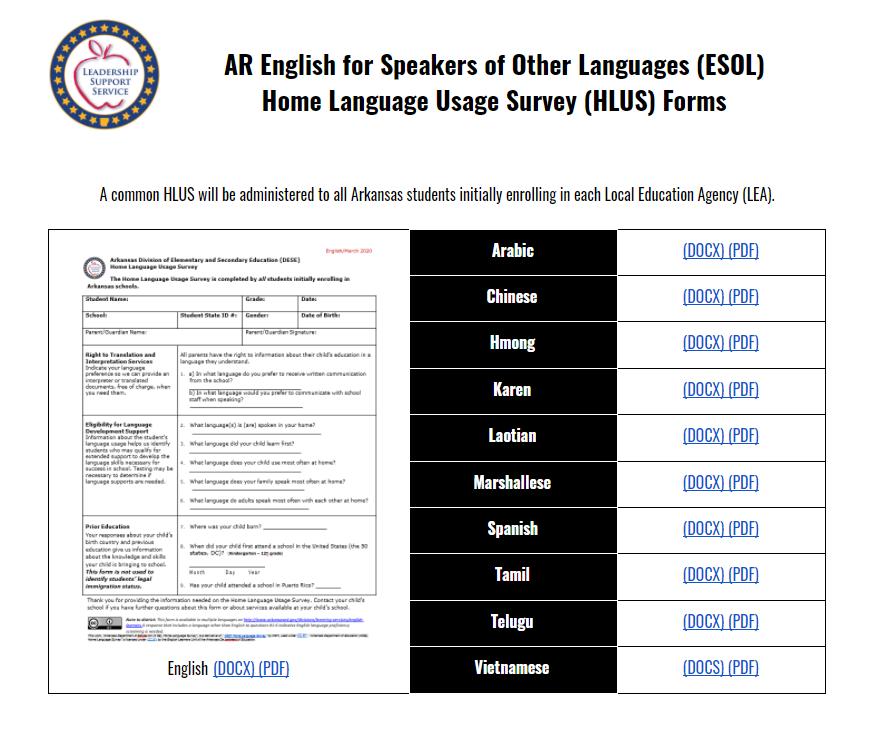 Home Language Usage Survey Verification Forms
