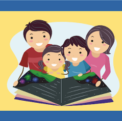 A family of four reading a book